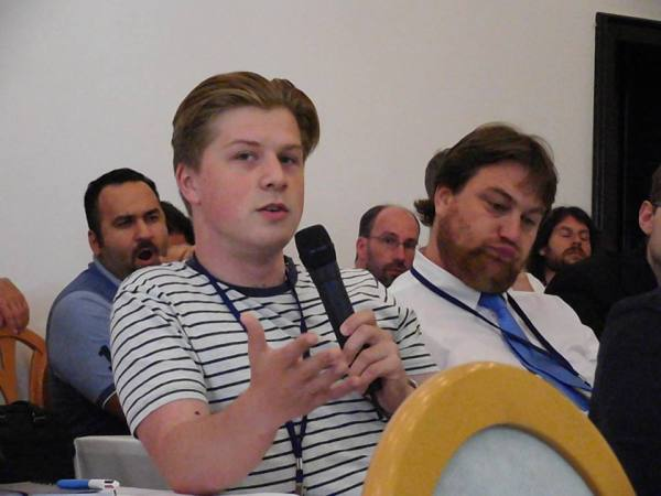 Me asking a question to one of the panel sessions, about big business I think.