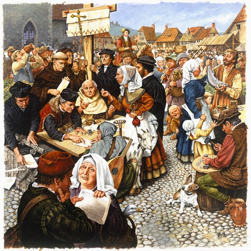 An artist's rendering of the marketplace sale of indulgences.
